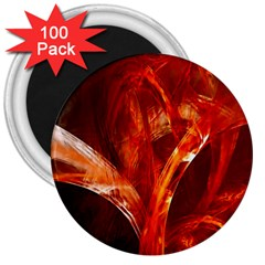 Red Abstract Pattern Texture 3  Magnets (100 Pack)