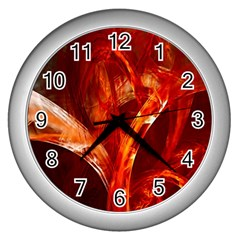 Red Abstract Pattern Texture Wall Clocks (silver)