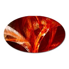 Red Abstract Pattern Texture Oval Magnet