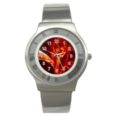 Red Abstract Pattern Texture Stainless Steel Watch