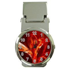 Red Abstract Pattern Texture Money Clip Watches