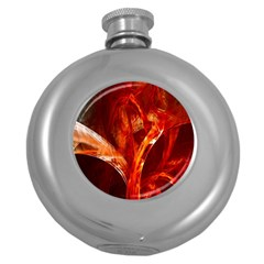 Red Abstract Pattern Texture Round Hip Flask (5 Oz)