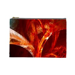 Red Abstract Pattern Texture Cosmetic Bag (large)