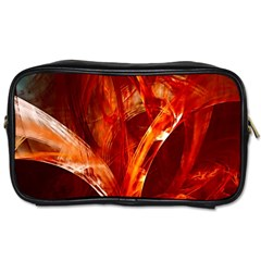 Red Abstract Pattern Texture Toiletries Bags