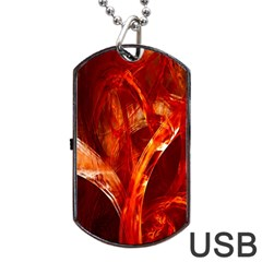 Red Abstract Pattern Texture Dog Tag Usb Flash (two Sides)