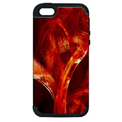 Red Abstract Pattern Texture Apple Iphone 5 Hardshell Case (pc+silicone)