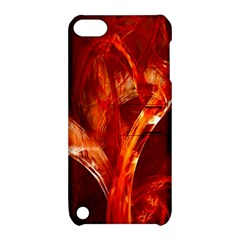 Red Abstract Pattern Texture Apple Ipod Touch 5 Hardshell Case With Stand