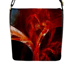 Red Abstract Pattern Texture Flap Messenger Bag (l)