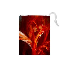 Red Abstract Pattern Texture Drawstring Pouches (small)