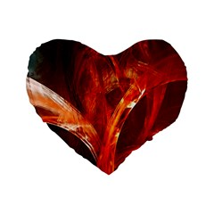 Red Abstract Pattern Texture Standard 16  Premium Flano Heart Shape Cushions
