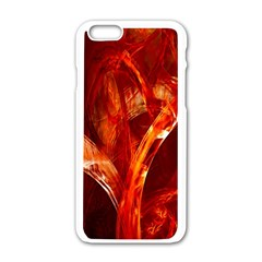 Red Abstract Pattern Texture Apple Iphone 6/6s White Enamel Case