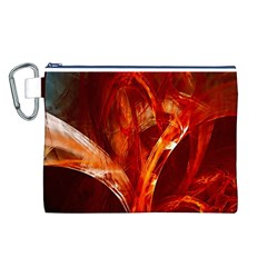 Red Abstract Pattern Texture Canvas Cosmetic Bag (l)