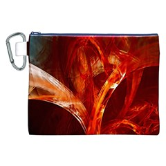 Red Abstract Pattern Texture Canvas Cosmetic Bag (xxl)