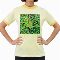 Pixel Pattern A Completely Seamless Background Design Women s Fitted Ringer T Shirts