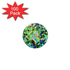Pixel Pattern A Completely Seamless Background Design 1  Mini Magnets (100 Pack)