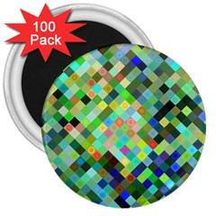 Pixel Pattern A Completely Seamless Background Design 3  Magnets (100 Pack)