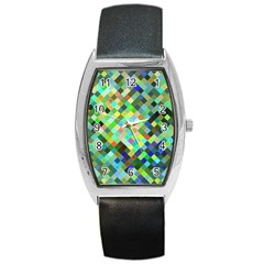 Pixel Pattern A Completely Seamless Background Design Barrel Style Metal Watch