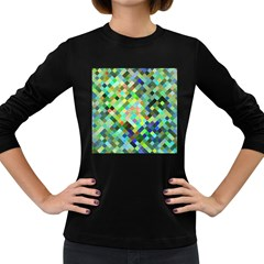 Pixel Pattern A Completely Seamless Background Design Women s Long Sleeve Dark T Shirts
