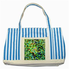 Pixel Pattern A Completely Seamless Background Design Striped Blue Tote Bag