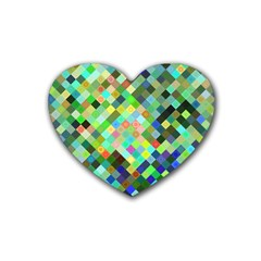 Pixel Pattern A Completely Seamless Background Design Heart Coaster (4 Pack)