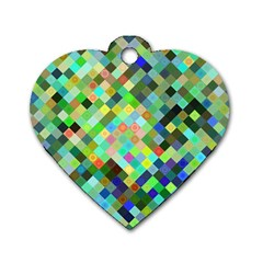 Pixel Pattern A Completely Seamless Background Design Dog Tag Heart (two Sides)