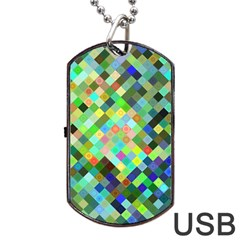 Pixel Pattern A Completely Seamless Background Design Dog Tag Usb Flash (one Side)