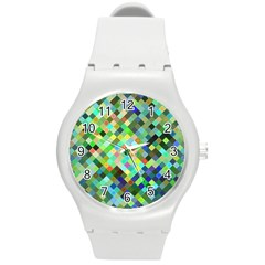 Pixel Pattern A Completely Seamless Background Design Round Plastic Sport Watch (m)