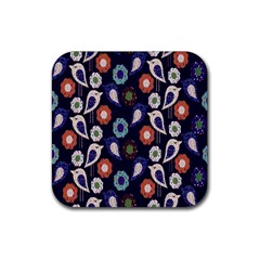 Cute Birds Seamless Pattern Rubber Coaster (square)