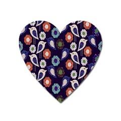 Cute Birds Seamless Pattern Heart Magnet