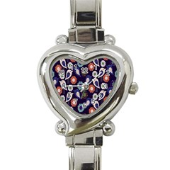 Cute Birds Seamless Pattern Heart Italian Charm Watch