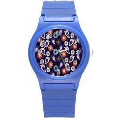 Cute Birds Seamless Pattern Round Plastic Sport Watch (s)