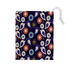 Cute Birds Seamless Pattern Drawstring Pouches (large)