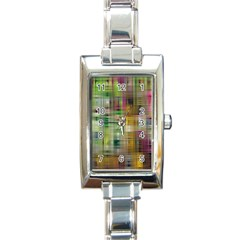 Woven Colorful Abstract Background Of A Tight Weave Pattern Rectangle Italian Charm Watch