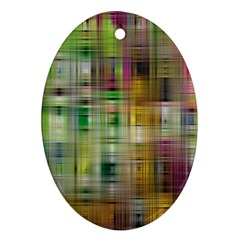 Woven Colorful Abstract Background Of A Tight Weave Pattern Ornament (oval)