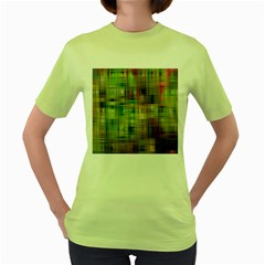 Woven Colorful Abstract Background Of A Tight Weave Pattern Women s Green T Shirt