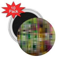 Woven Colorful Abstract Background Of A Tight Weave Pattern 2 25  Magnets (10 Pack)