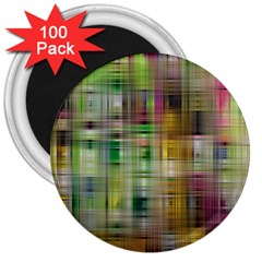 Woven Colorful Abstract Background Of A Tight Weave Pattern 3  Magnets (100 Pack)