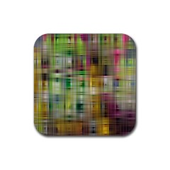Woven Colorful Abstract Background Of A Tight Weave Pattern Rubber Coaster (square)