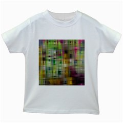 Woven Colorful Abstract Background Of A Tight Weave Pattern Kids White T Shirts