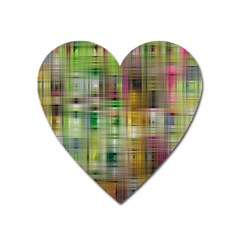 Woven Colorful Abstract Background Of A Tight Weave Pattern Heart Magnet