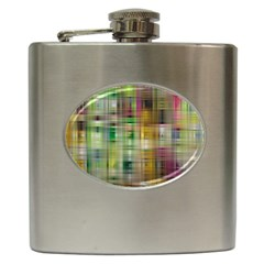 Woven Colorful Abstract Background Of A Tight Weave Pattern Hip Flask (6 Oz)