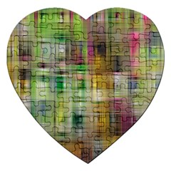 Woven Colorful Abstract Background Of A Tight Weave Pattern Jigsaw Puzzle (heart)