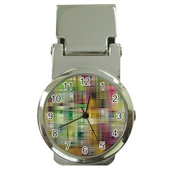 Woven Colorful Abstract Background Of A Tight Weave Pattern Money Clip Watches