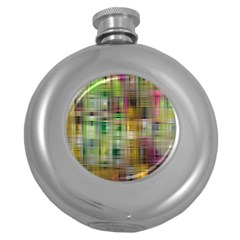 Woven Colorful Abstract Background Of A Tight Weave Pattern Round Hip Flask (5 Oz)