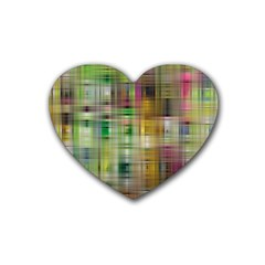 Woven Colorful Abstract Background Of A Tight Weave Pattern Heart Coaster (4 Pack)