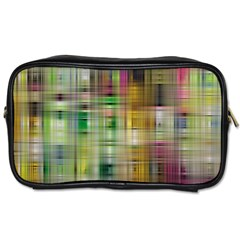 Woven Colorful Abstract Background Of A Tight Weave Pattern Toiletries Bags 2 Side