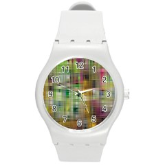 Woven Colorful Abstract Background Of A Tight Weave Pattern Round Plastic Sport Watch (m)