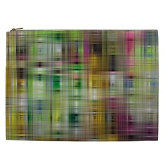 Woven Colorful Abstract Background Of A Tight Weave Pattern Cosmetic Bag (xxl)