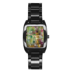 Woven Colorful Abstract Background Of A Tight Weave Pattern Stainless Steel Barrel Watch