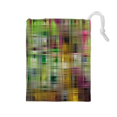 Woven Colorful Abstract Background Of A Tight Weave Pattern Drawstring Pouches (large)